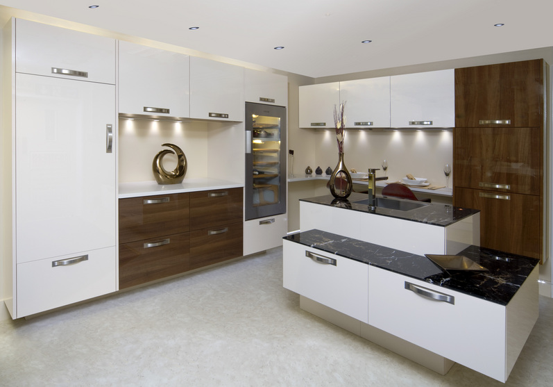 High Gloss White And Walnut Handle Free Kitchen