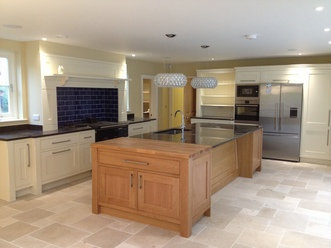 Painted Kitchen with Oak Island